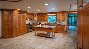 Travertine Flooring In Kitchen Cherry Cabinets Travertine Floors Cherry Wood Kitchen