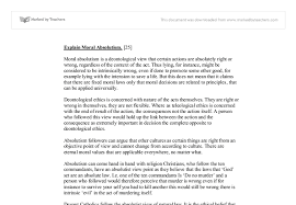 explain moral absolutism moral absolutism is a deontological  document image preview