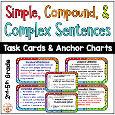 Complex Sentence Anchor Chart Simple Compound And Complex Sentences Anchor Charts And Task Cards