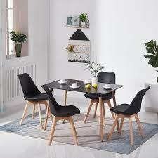 Rechteckiger Esstisch Retro Esstisch Und 4 Stühle Mit Massivem
