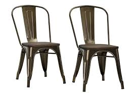 outdoor metal chair. Amazon.com - DHP Fusion Metal Dining Chair With Wood Seat, Set Of Two, Antique Bronze Chairs Outdoor R