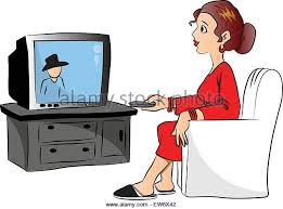boy watching tv clipart. vector illustration of woman watching television at home. - stock boy tv clipart