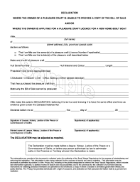 Copy Bill Of Sale Declaration Owner Of A Pleasre Craft Is Unable To Provide A