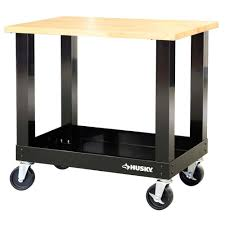 3 ft mobile solid wood top workbench