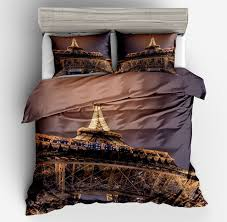 2018 demissir 3d golden eiffel tower duvet cover set 2 3pcs student soft bedding set