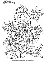 Kleurplaat Chiggy Prinses Bloemen Vlinder Kleurplatennl