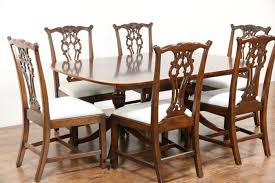 antique dining room chairs. Baker Signed Banded Mahogany Vintage Dining Table, 2 Pedestals, Antique Room Chairs