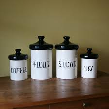 black and white kitchen canisters