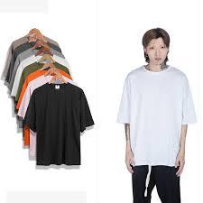 Oversized T Shirt Men Kanye West <b>S XXL</b> Fashion <b>Plain</b> Half Sleeve ...