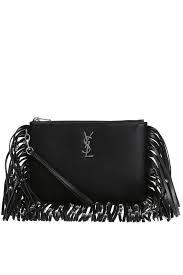 saint lau ysl signature black leather fringe