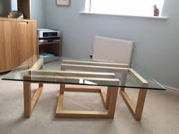 multiyork glass top light oak coffee table