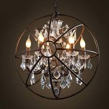 foucaults orb crystal chandelier antique rust globe pendant lamp light restoration 4 6 clear 44