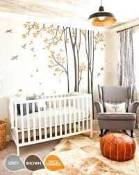 large tree wall decal large nursery wall decal set with grey birds and orange leaves tree large tree wall decal