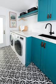 our clients also did not want that typical lower level transition you see in most laundry rooms because the sink height and washer dryer height aren t the