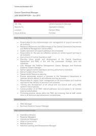 Central Operations Manager Job Description Job Description 2015