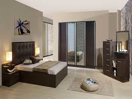 neutral paint color ideas for small bedroom design with dark brown furniture set
