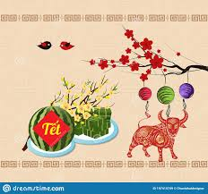 Cooked Square Glutinous Rice Cake And Blossom, Vietnamese New Year 2021.  Translation Tết Lunar New Year, Year Of Ox Stock Illustration -  Illustration of asia, banner: 197415749