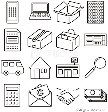 ネット通信によるフリーマーケットオークションのアイコンのイラスト