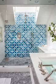 blue patterned mosaic shower tiles