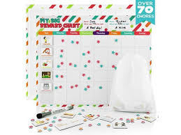 Fat Zebra Designs Reward Chore Chart For Kids 70 Chores Magnetic Board With Dry Erase Marker Track Weekly Behavior Responsibilities Allowance