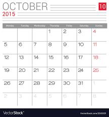 2015 October Calendar Page Royalty Free Vector Image