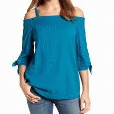 Caslon New Blue Womens Size Large L Cold Shoulder Smocked