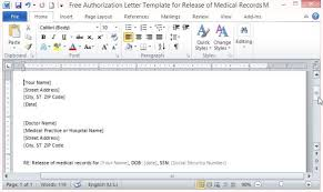 release of medical information template free authorization letter template for release of medical records