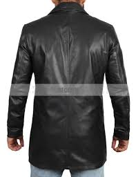 winchester black genuine leather car coat