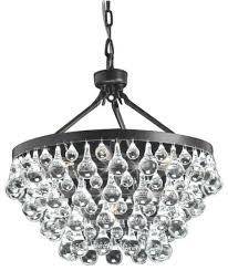 modern style glass crystal 5 light chandelier antique bronze