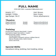 how to make a beginners acting resume with no experience