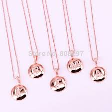 10pcs micro pave cz zirconia a to z 26 letter pendant necklace rose gold initial alphabet