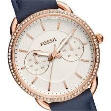 fossil women tailor multifunction navy leather watch es4394