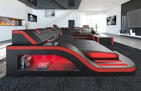 Details Zu Sofa Palermo Xxl Mit Led Beleuchtung Leder Designer Wohnlandschaft Schwarz Rot