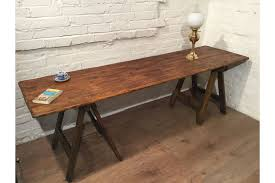 8ft antique hand made 1850 reclaimed pine floorboards 1890 old pine trestle table photo 1