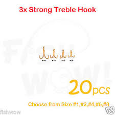 Details About 20pcs Fishing 3x Treble Hooks Gold Choose From Tiny Size 14 16 18 20 Lots