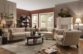 Tufted Living Room Set Coaster 505821 Trivellato 3 Pcs Oatmeal Linen Living Room Sofa Set