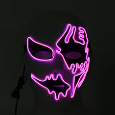 Light Up Mask Halloween Mask Led Luminous Flashing Party Masks Light Up Dance Halloween Cosplay Props