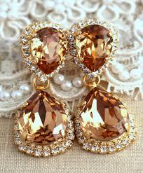 bridal chandelier earrings rose gold earrings bridal earrings wedding jewelry crystal