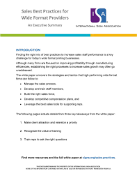 Format For An Executive Summary Sales Best Practices For Wide Format Providers Executive