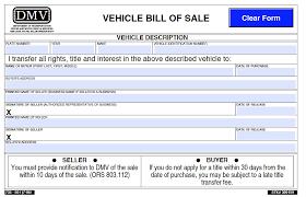 oregon dmv vehicle bill of 501