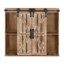 kate and laurel cates rustic wood wall storage cabinet with barn doors on today overstock 16838745