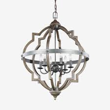 lighting 45 light gray wood and iron valencia chandelier for