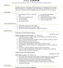 Inside Sales Sample Resume Sales Representative Resume Free Inside