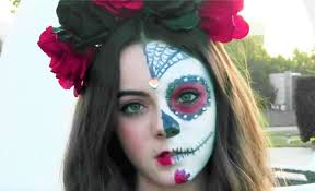 face paintings half sugar skull makeup leave half of your costume natural and focus on applying