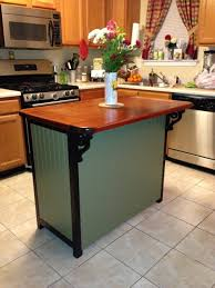 Beautiful Small Kitchen Island Ideas With Seating Brown Wood Kitchen  Countertops Red Tile Fabric Kitchen Window Curtain Metal Electric Range Gas  Cabinet New ...