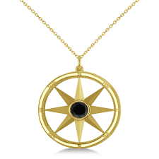 black diamond compass pendant fashion necklace 14k yellow gold 0 66ct ad2720