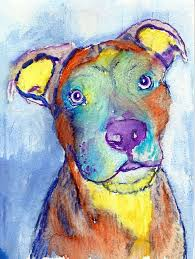 american staffy colorful dog painting american staffy dog print watercolor american staffie owner gift