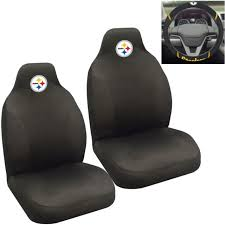 nfl pittsburgh steelers car truck 2 front seat covers steering wheel cover set