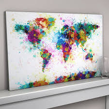 paint splashes world map art print by artpause com canvas nz on wall art prints nz with panel canvas wall art world map nz buy new nz feerick