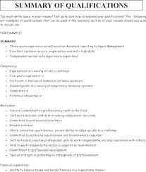 Sample Summary Of Qualifications For Resume Resume Skills Summary